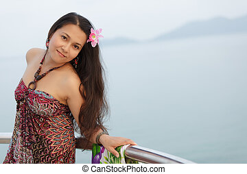 young thai woman - young asian thai woman outdoor portrait
