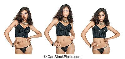 Young three women in black bra