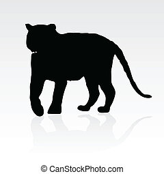 young tiger black silhouette