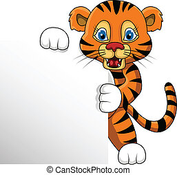 young tiger with blank sign - vector illustration of young...