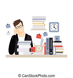 Young tired businessman character sitting at the desk having a lot of work with documents, daily life of office employee vector Illustration