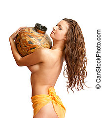 Young topless girl with jug on white