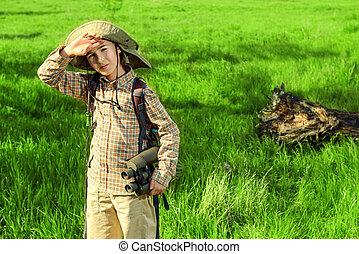 young tourist boy