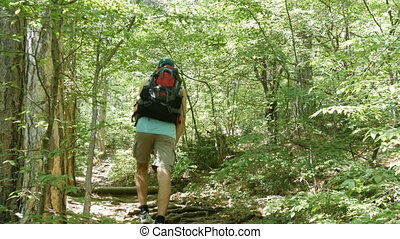 Young tourist man comes with backpack on his back up a mountain path through the forest
