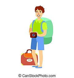 Young tourist man standing with big tourist backpack and holding camera in his hand. Colorful cartoon character