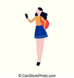 Young tourist woman looking at smartphone