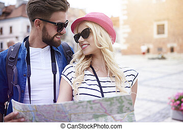 Young tourists in the city