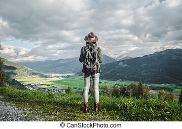 Young traveler in the mountains