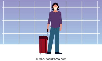 young traveler woman wearing medical mask with suitcase in airport