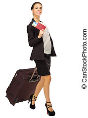 Young traveling businesswoman isolated