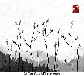 Young tree branches and mountains in fog on rice paper background. Traditional oriental ink painting sumi-e, u-sin, go-hua. Hieroglyph - well-being