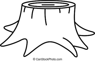 Young tree stump icon, outline style