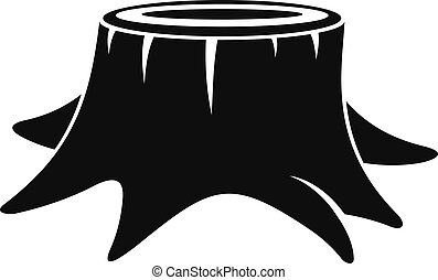 Young tree stump icon, simple style