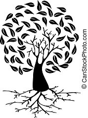 Young Tree with roots silhouette - Tree with long roots and...
