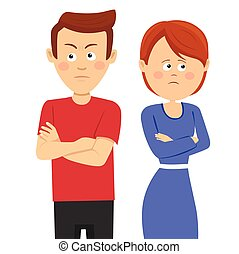 Young unhappy couple having marital problems or disagreement...