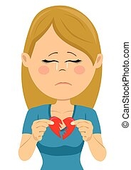 Young unhappy sad woman with a broken heart card