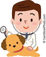 Young veterinarian and dog - Vector illustration. Original ...