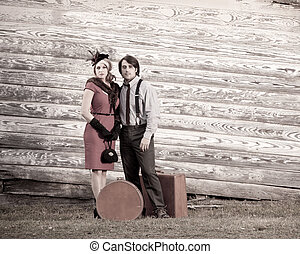 young vintage couple travelling