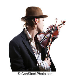 violinist playing the violin in hat