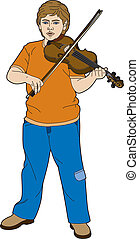 Young violinist standing