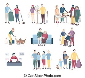 Young volunteers set. Flat vector illustration collection....