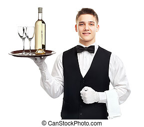 Young waiter with bottle of wine on tray - Portrait of young...