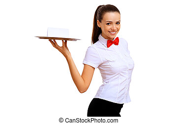 Young waitress with an empty tray - Portrait of young...