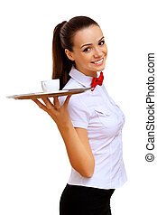 Young waitress with an empty tray - Portrait of young ...