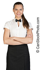 Young waitress with crossed arms looking at camera