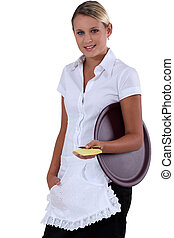 Young waitress with order pad and tray