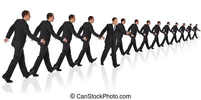 Young walking businessman