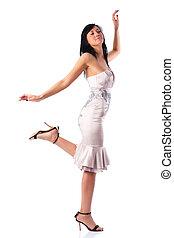 Young walking woman