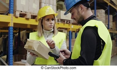 Young warehouse workers working together. Man and woman...