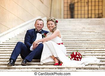 Young wedding couple - Beautiful wedding couple outside the...