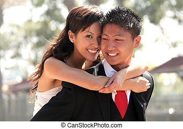 Young Wedding Couple Outdoors - Asian American Wedding ...
