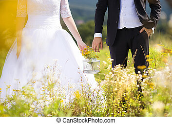 Young wedding couple