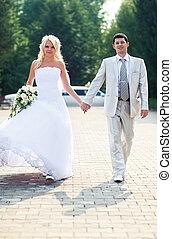 Young wedding couple