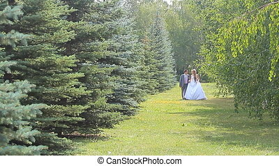 Young wedding couple walking together at park.