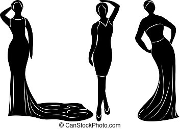 Young wemen in evening dresses for a party silhouettes