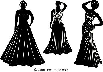 Young wemen in evening dresses party silhouettes