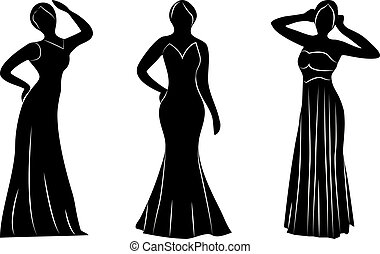 Young wemwn a evening gowns silhouettes