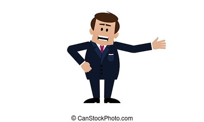 Young white businessman explaining and talking about something. HD loopable cartoon animation including alpha matte.