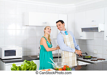 young wife help husband