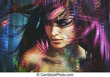 wild woman beauty portrait double exposure