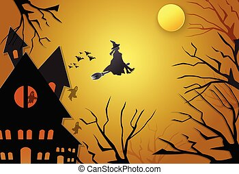 Young witch flying on broom with spooky silhouette Halloween background concept, paper art style illustration