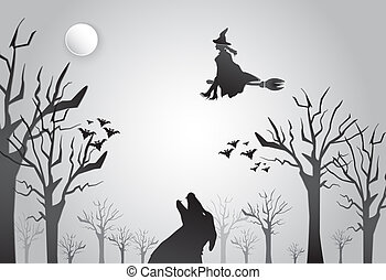 Young witch flying on broom with wolf silhouette Halloween background concept, paper art style illustration