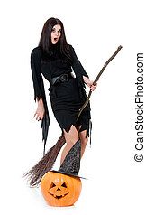 Young witch - Pretty sexy young witch flying on a broom...