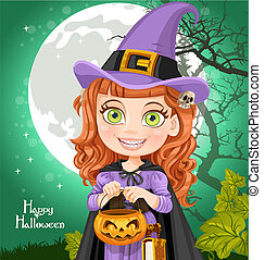 Young witch with a book Trick or Treat