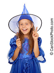 Young witch with a magic wand isolated on the white
