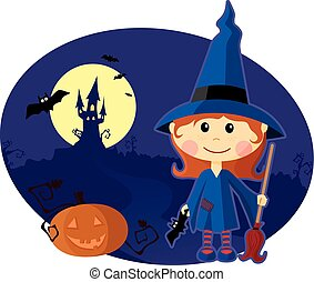 Young witch with pumpkin at Halloween night.